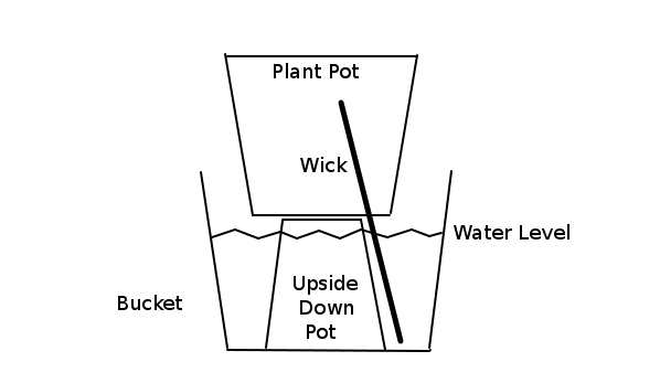 Pot with Wick in Bucket for holiday watering systems idea.